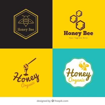 Pack of cute honey logotypes