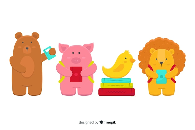 Pack of cute illustrated animals at school