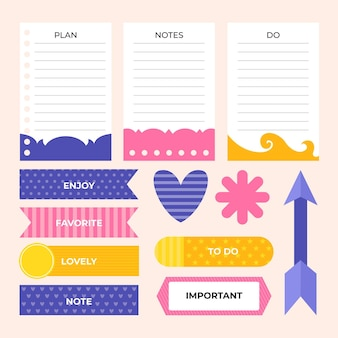 Pack of cute planner scrapbook elements