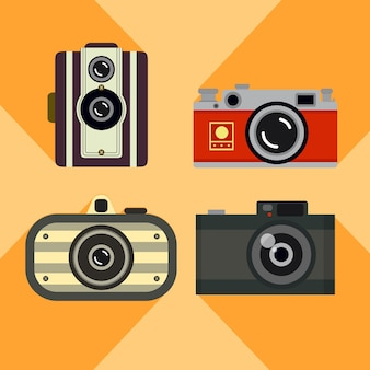 Pack of cute retro cameras in flat design