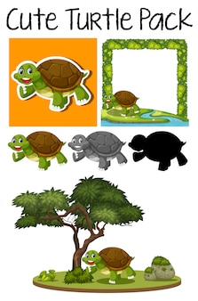 A pack of cute turtle