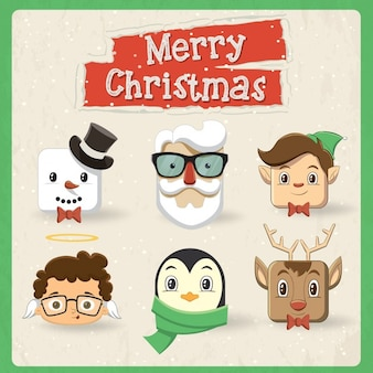 Pack of cute vintage christmas characters