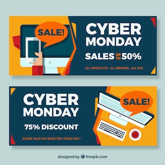 Pack of cyber monday banners