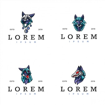 Pack of cyber wolf logo template