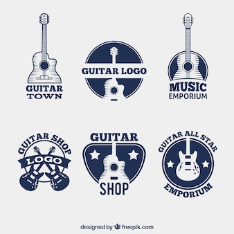Pack of dark blue logos with guitars