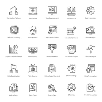 Pack of database line icons