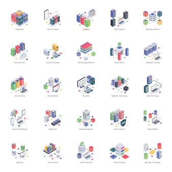 A pack of database server isometric illustrations