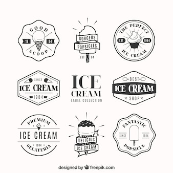 Pack of decorative badges with ice creams in flat design