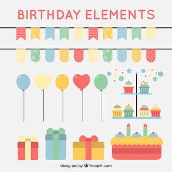 Pack of decorative birthday elements in flat style