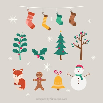 Pack of decorative christmas elements