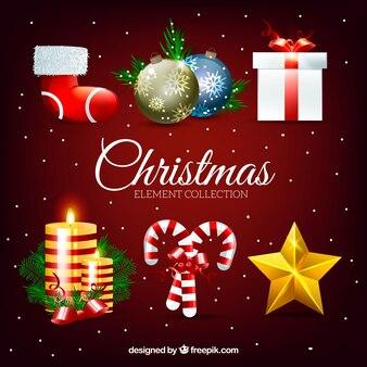 Confezione di elementi decorativi natalizi