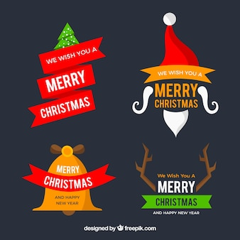 Pack of decorative christmas stickers in flat design