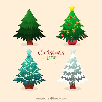 Pack of decorative christmas trees