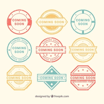 Pack of decorative coming soon stamps in pastel colors