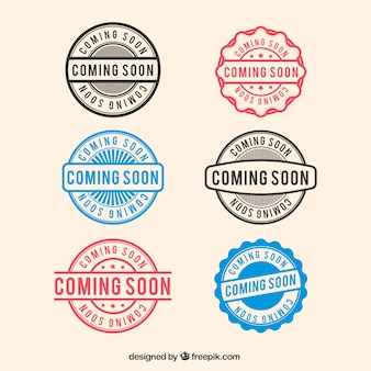 Pack of decorative coming soon stamps