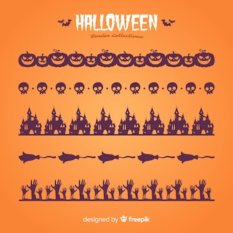 Pack of decorative halloween borders in flat design