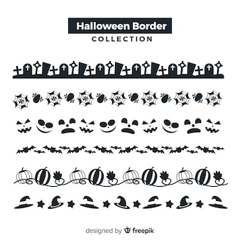 Pack of decorative halloween borders in flat design