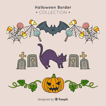 Pack of decorative halloween borders in hand drawn style