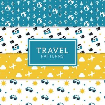 Confezione di modelli decorativi con elementi di viaggio in design piatto