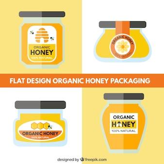 Pack of designs organic honey jars