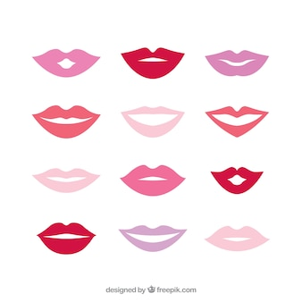 Pack of different colored lips