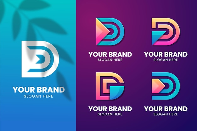 Pack of different gradient d logo
