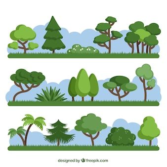 Pack of different green trees