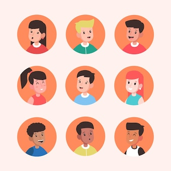 Pack of different people avatars
