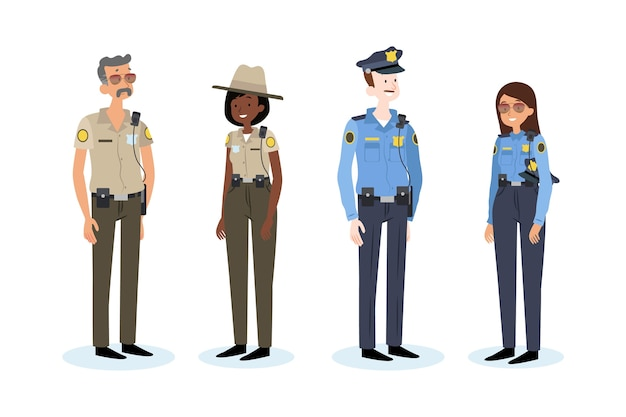 Pack of different police people