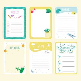 Pack of different scrapbook notes and cards