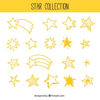 Pack of different types of stars and shooting stars