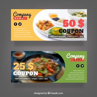 Pack of discount coupons for food