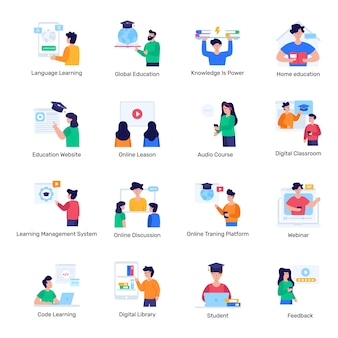 Pack of distance education flat icons