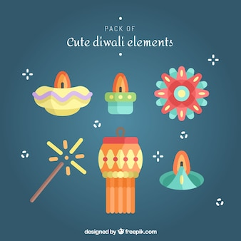 Pack of diwali decorative elements