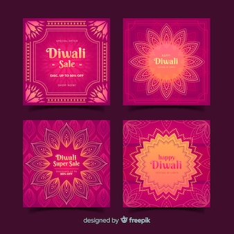 Pack of diwali festival instagram post