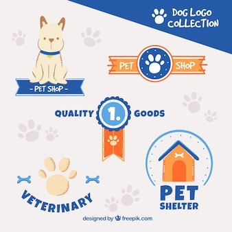 Pack of dog logos with blue elements