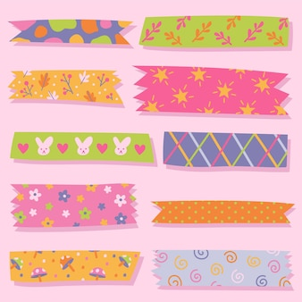 Pack of drawn cute washi tapes