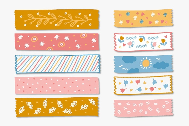 Pack of drawn different washi tapes