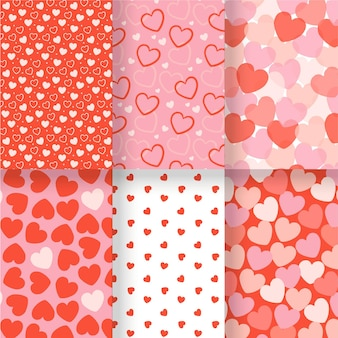 Pack of drawn heart patterns