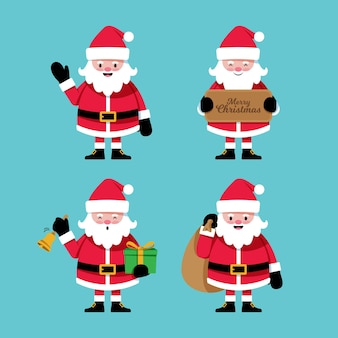 Pack of drawn santa claus character
