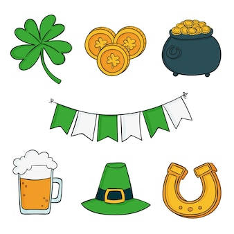 Pack of drawn st. patrick's day elements Free Vector