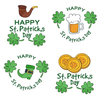 Pack of drawn st. patrick's day labels