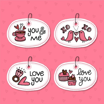 Pack of drawn valentine's day badges
