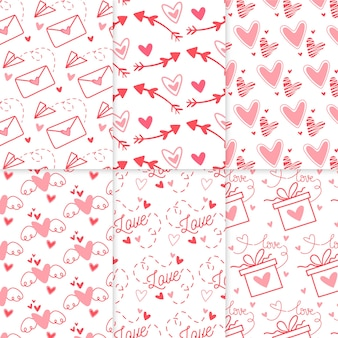 Pack of drawn valentine's day pattern