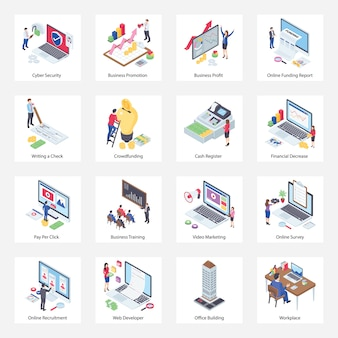 Pack of e business isometric icons