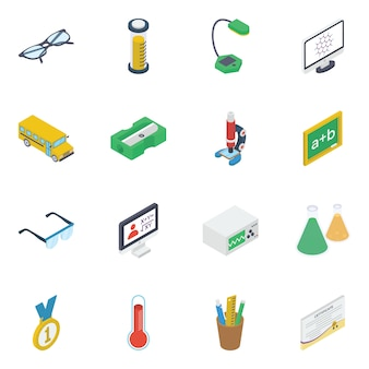 Pack of e learning isometric icons