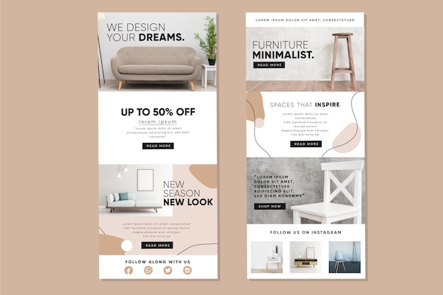 Pack of ecommerce email template with photos