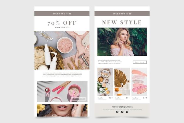 Pacchetto di modelli di email di e-commerce con foto