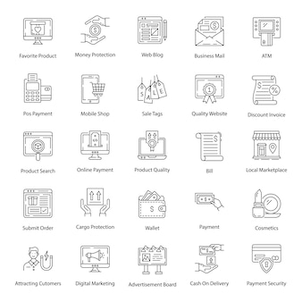 Pack of ecommerce line icons pack