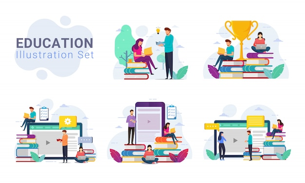 Pack of education design concept illustration set